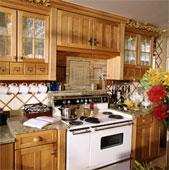 armoires de cuisine en bois portes vitrés