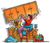 armoires de cuisine Autoconstruction cartoon dessin