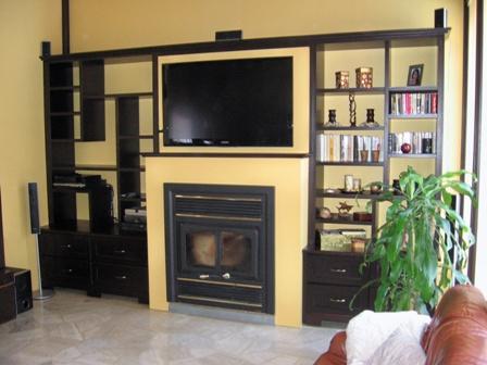 manteau de foyer, bibliothèque en bois, tiroir à bois, ébénisterie