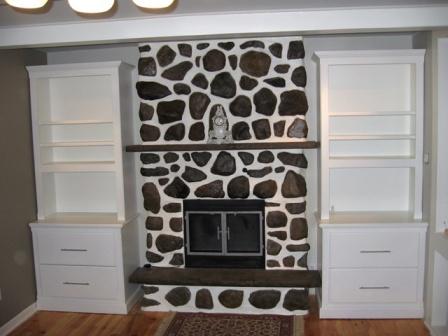 bibliothèque en MDF, foyer pierre, tiroir a bois, sur mesure