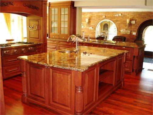 comptoir de granite, armoires de cuisine, ilot