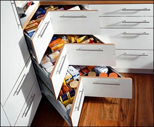 tiroir pour armoire de cuisine en coin
