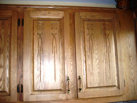 armoires de cuisine en chêne sculpté