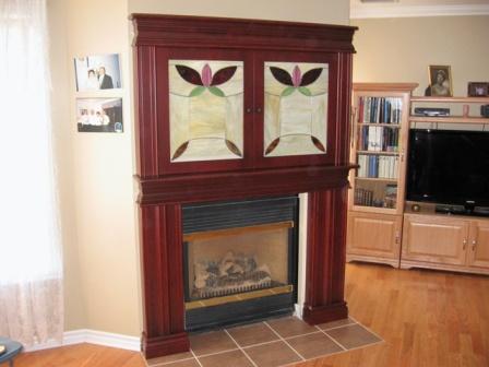 Manteaux de foyer avec vitrail, bois, sur mesure, ébénisterie