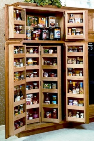 garde manger d'armoires de cuisine en bois, style rustique