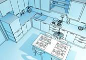 armoires de cuisine dessin cuisine en L