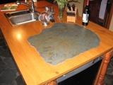 ilôt de cuisine, comptoir, pierre travaillé ardoise