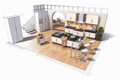Dessin armoires de cuisine à air ouverte