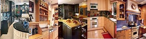 armoires de cuisine en bois, en merisier, en érable, en chêne, etc.