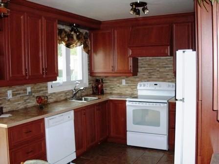 armoires de cuisine en polyester avec des portes d'armoires de style shaker, comptoir de cuisine en stratifié avec une bande de corian, dosseret de cuisine en pierre naturel